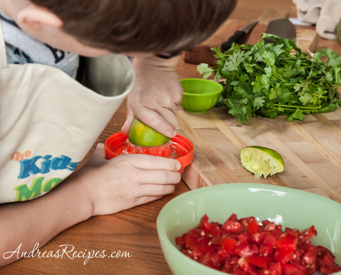 Andrea Meyers - Juicing a lime for salsa fresca