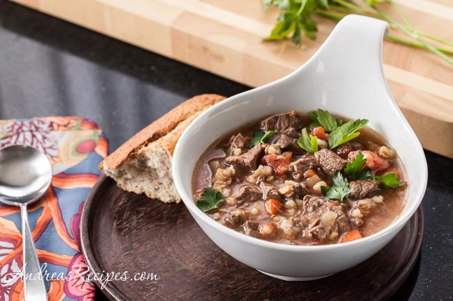 Slow Cooker Beef Barley Soup - Andrea Meyers