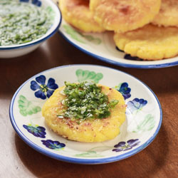 Colombian Arepas Recipe with Cheese (Arepas con Queso) and Aji - Andrea Meyers