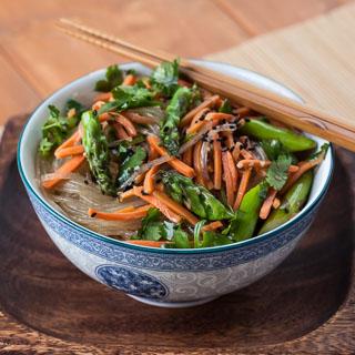 Asparagus Noodle Salad Recipe with Sesame Ginger Vinaigrette - Andrea Meyers