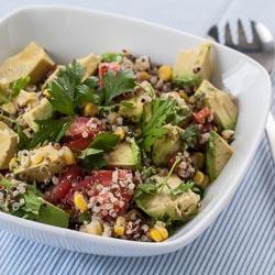 Quinoa Avocado Salad Recipe with Parsley, Corn, Tomatoes, and Lemon Vinaigrette - Andrea Meyers
