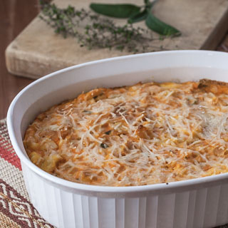 Butternut Squash and Parmesan Bread Pudding Recipe - Andrea Meyers
