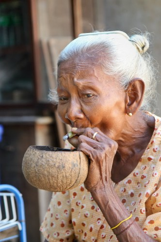 portrait of old lady smoking a cheroot (Bagan, Myanmar, 2011)