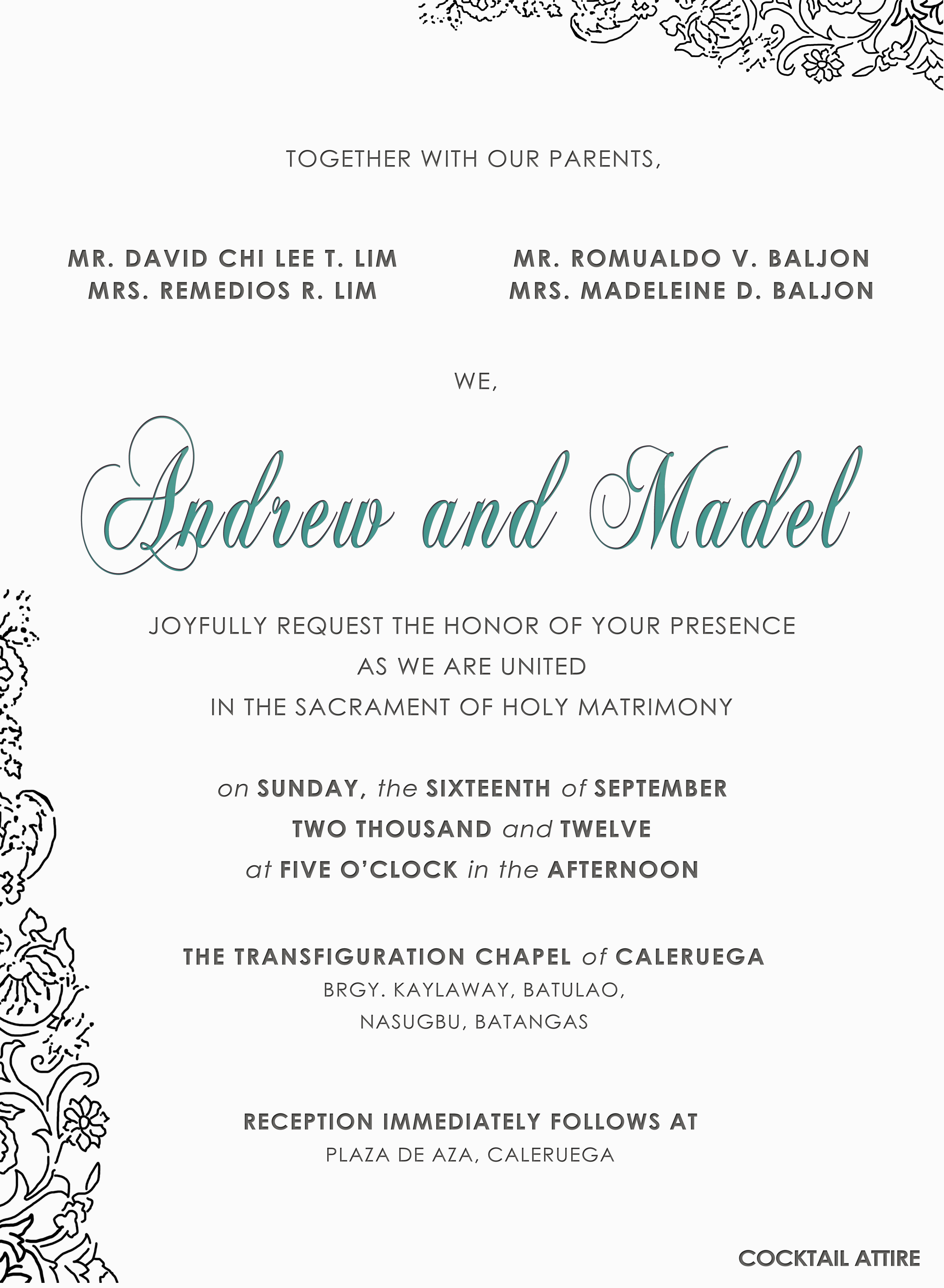 wedding invitation contents