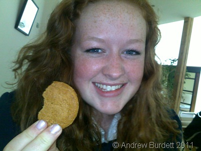 On 1 April, my musical friends and I spent most of the day at Taplow Court for a rehearsal of Faure's Requiem, for a performance of the piece later that evening. My favourite ginger of them all, Sophie Davies, enjoys a ginger biscuit.
