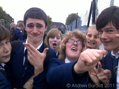 Here, Gareth Mound (second from left) pulls an almost sillier face than Lauren Langley (third from right) – although Garth's was intentionally ridiculous…
