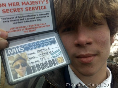 Elliot Murphy was given an MI6 membership card from Jake for his birthday last year, after Jake photographed him in a particularly spy-like outfit during a Business Studies trip.