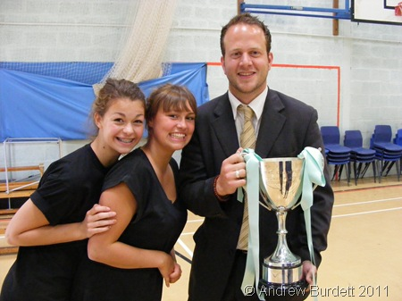CROWNING GLORY_On his last day at Furze Platt, Mr Neill received the House Cup on behalf of Eton, posing here with Kirstie Bradbrook-Armit and Charlotte Street.