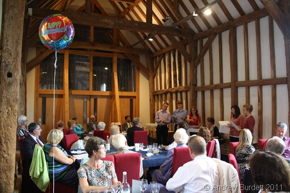 CELEBRATION SINGERS_Harriet and friends sing some of Mum and Dad's favourite music during the silver wedding anniversary party.