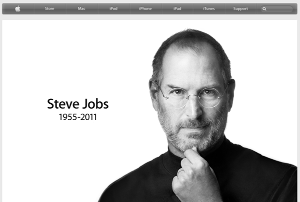APPLE OF MY EYE_Steve Jobs, Apple founder, remembered on the Apple homepage.