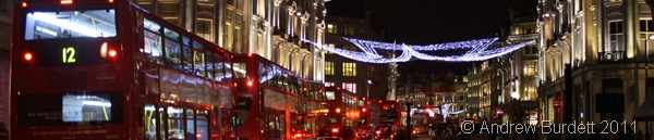 REGENT STREET LIGHTS_Looking down Regent Street at its shining Christmas lights.