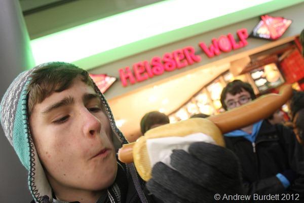WHAT A WEINER: Sam enjoys a German sausage. (IMG_7637)
