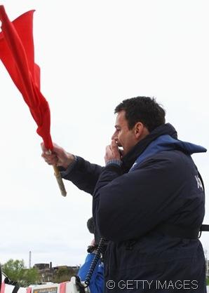 ON YOUR MARKS - AGAIN: Umpire John Garrett restarting the Boat Race.