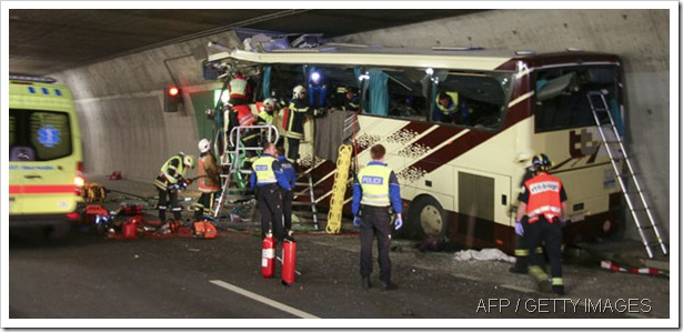 DISASTER: The coach, carrying students home from a ski trip, crashed into the wall of a tunnel.