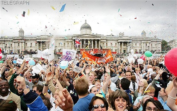 EUPHORIA: The moment in Trafalgar Square after the announcement of London's successful Olympic bid was made.
