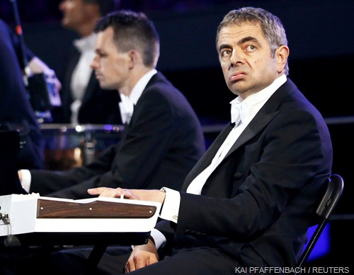 PLAYING SECOND FIDDLE: Rowan Atkinson, as Mr Bean, was handed the rotten job of synthesiser-player for Chariots of Fire.