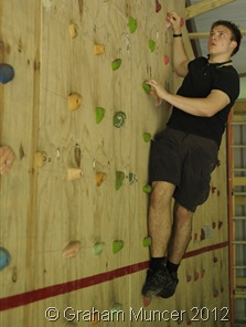 SCALING NEW HEIGHTS: I was keen to have a go at the indoor bouldering wall when I got back to the campsite. (0137_20120805_DSC3133_GrahamMuncer)
