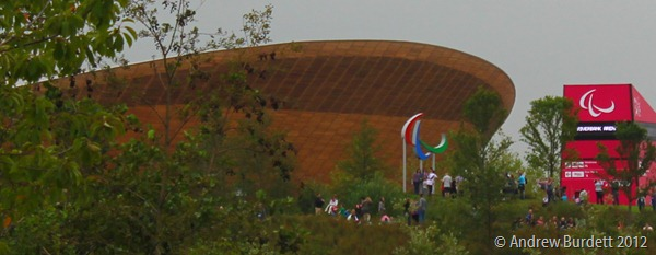 PARALYMPIC AGITOS: The Olympic rings by the Velodrome were replaced with the three agitos. (IMG_2748)