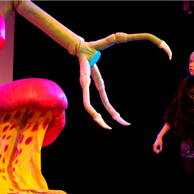 CLAWING THEM IN: Tilly Mitchell as Audrey comes face-to-face with the terrifying Audrey II. (IMG_3904_AlexMeade)