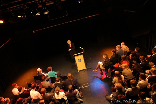 RULING FROM THE TOP-DOWN: Conservative MP Theresa May MP addresses the audience in the School Drama Studio. (IMG_4285)
