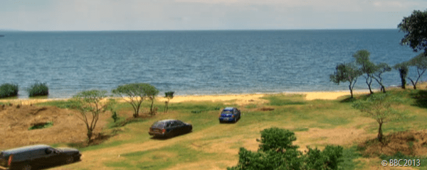 TASK COMPLETE: The three cars pull up at Lake Victoria, with the presenters thinking they'd finished already.
