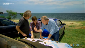 MAP THIS OUT: Clarkson and Hammond show Captain-Sense-Of-Direction where they intend to drive.