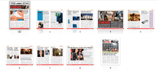 A graphic showing the page-layout of the latest edition of The Stag.
