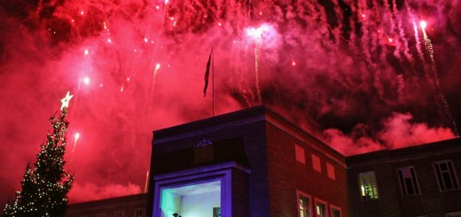 Fireworks being set off from the roof of the Maidnehead Town Hall.