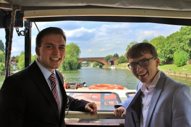 Andrew Burdett with his friend over many years, Jake Smith, as the boat neared Maidenhead Railway Bridge.