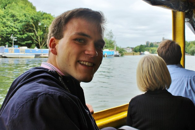 Andrew Burdett in the Windsor Duck Tours vehicle, on the River Thames.