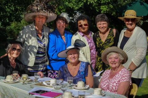 Women from St Luke's enjoying the summer sunshine in the vicarage garden.