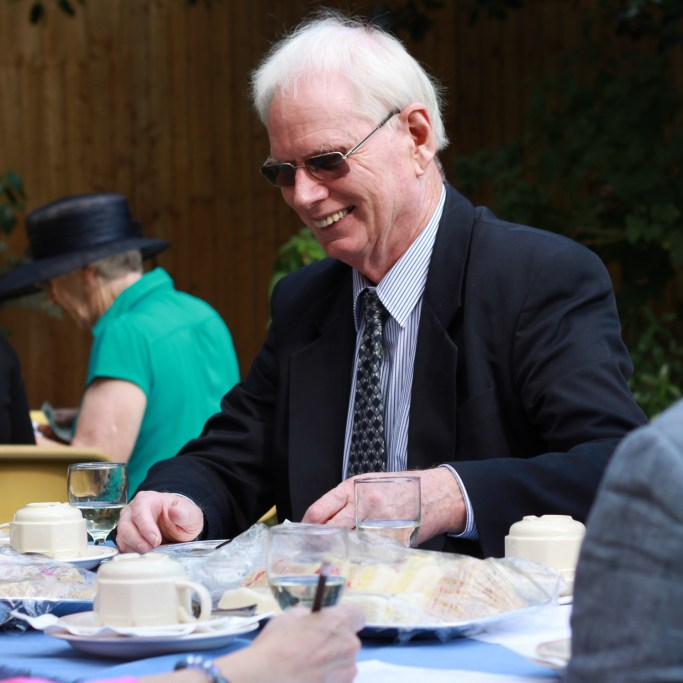 Ian Gilchrist enjoying the atmospher of the vicarage garden party.