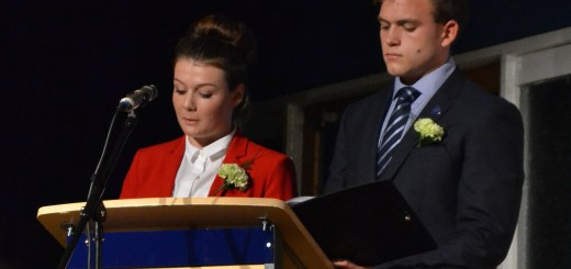 Sarah Donlon and Andrew Burdett speaking at Furze Platt Senior School's Celebration Evening in September 2013.
