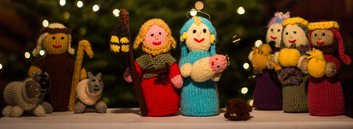 A knitted nativity scene.