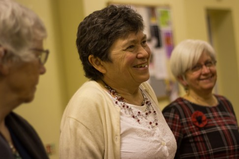 Ann Darracott, Ann Burdett, and Carole Baughan, reunited at the ceilidh.