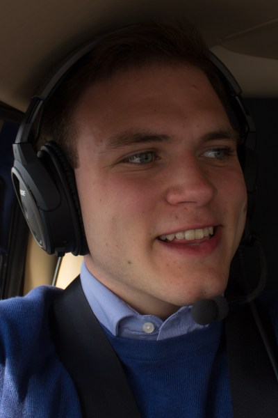 Andrew Burdett pictured in the helicopter during the flight experience.