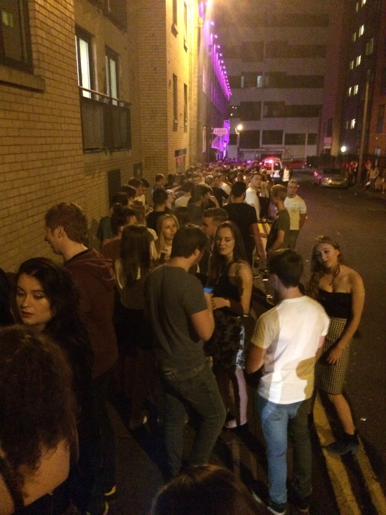 Even the 'pre-booked' queue to get in to the Corporation nightclub snaked around the block and right up the road.