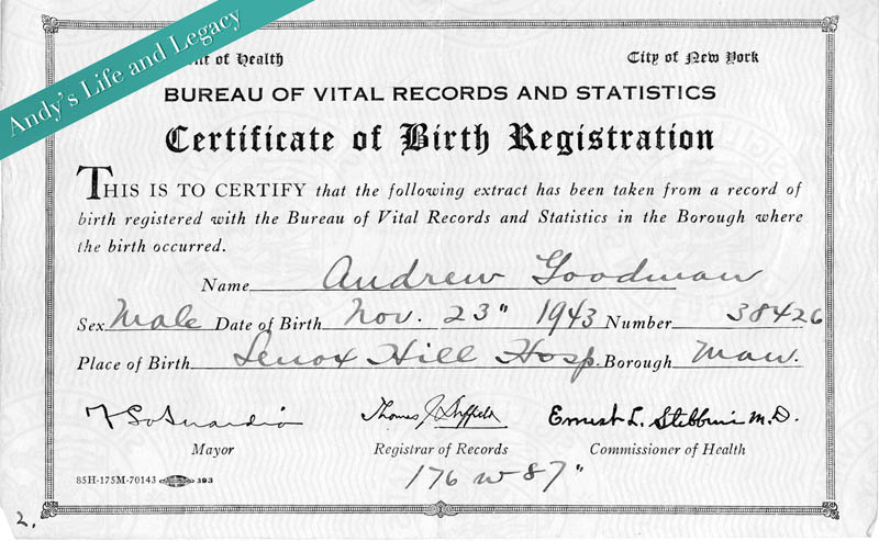 andrew-goodman-birth-certificate - Andrew Goodman Foundation - birth certificate