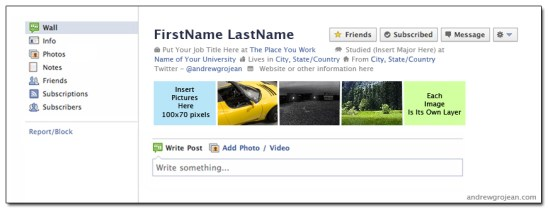 Old Facebook Timeline Template - Andrew Grojean