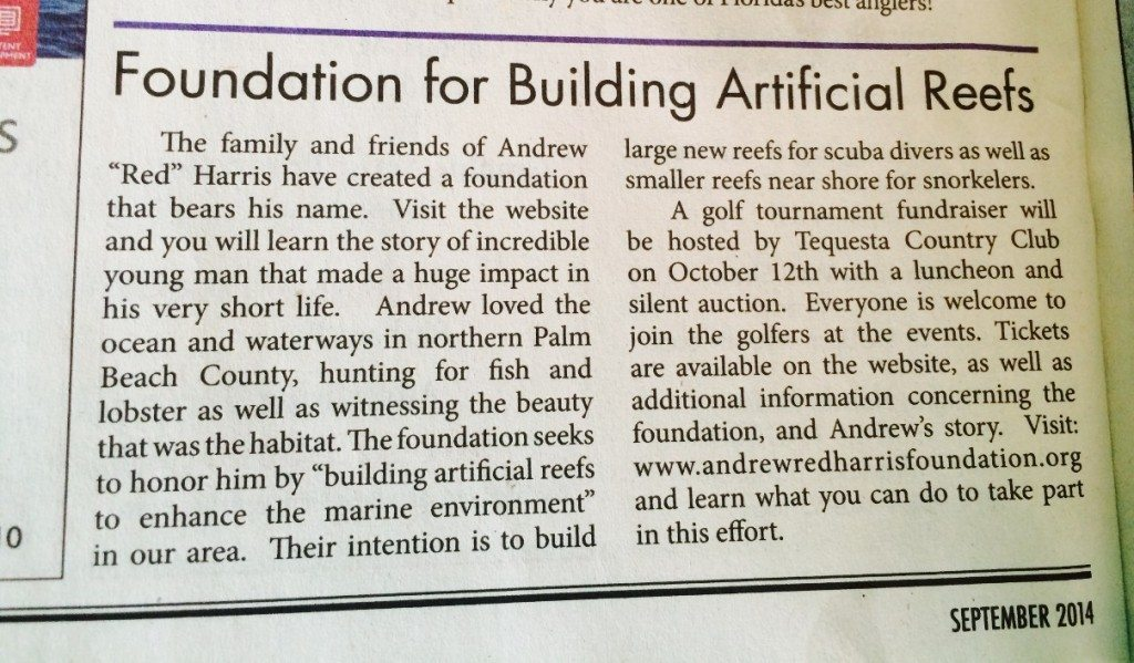 September 2014 Coastal Angler Magazine article on The Andrew Red Harris Foundation