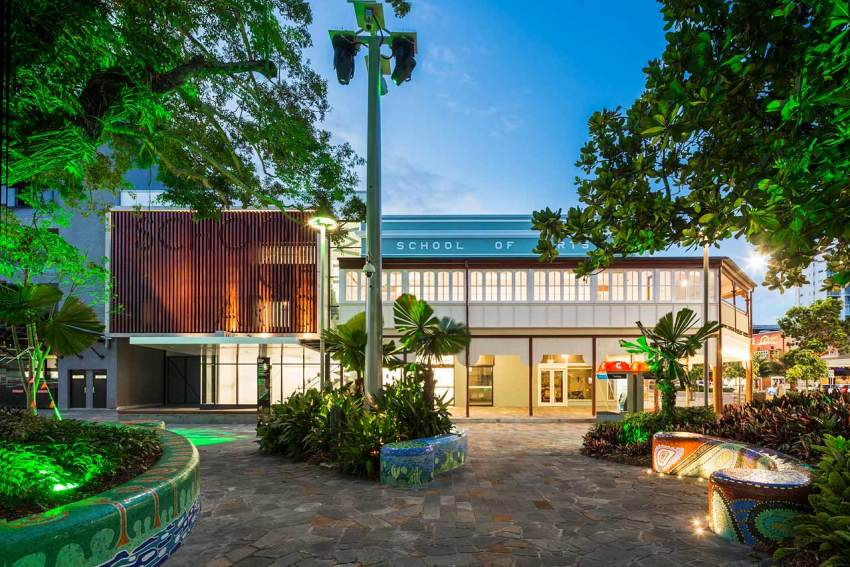 Twilight image of the newly renovated Cairns School of Arts building