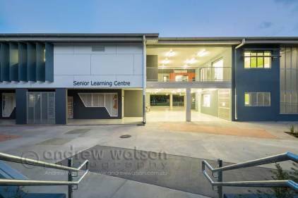 Twilight image of Senior Learning Centre building at Trinity Beach State School