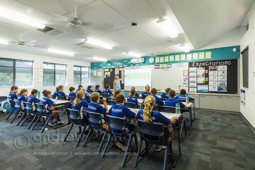 Image of students in classroom facing teacher at whiteboard