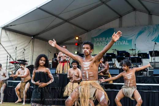 Image of indigenous dancers performing at Yarrabah Band Festival