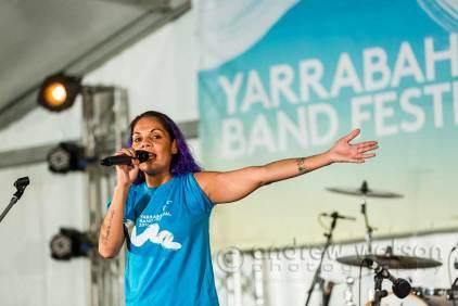 Image of Dizzy Doolan performing at Yarrabah Band Festival