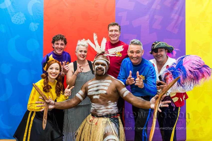 Image of the Wiggles with performing at the indigenous community of Yarrabah