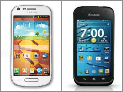 Galaxy Prevail II left, Kyocera Hydro Edge right