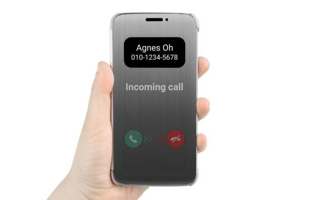 """Die halbdurchsichtige Schutzhülle """"Quick Cover"""" ermöglicht es, den Bildschirm des Smartphones """"LG G5"""" abzulesen, ohne das Gerät aus der Hülle herauszunehmen. (Foto: LG Electronics)"""