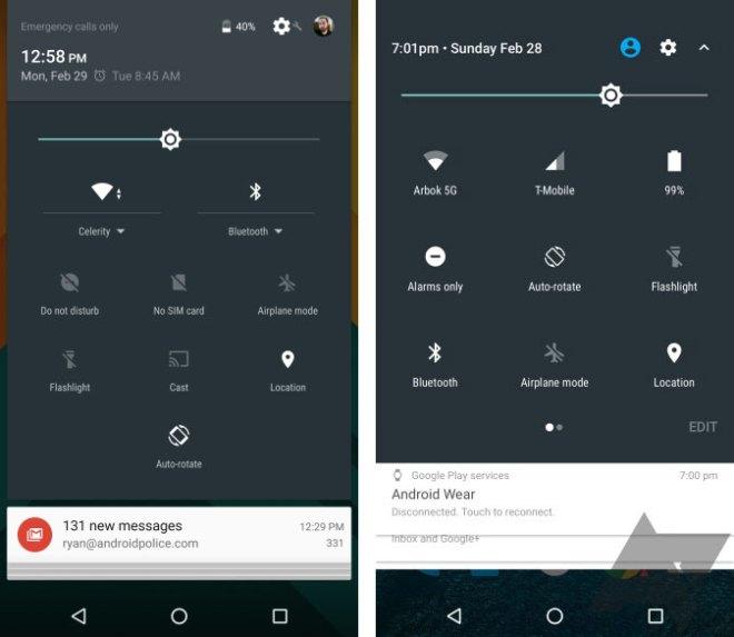 Links ist die derzeitige Version zu sehen, rechts Android N (Foto: AndroidPolice)