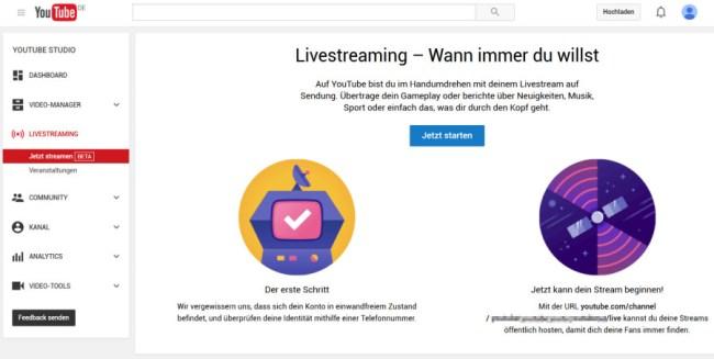 """Bereits jetzt bietet YouTube über die Funktion """"YouTube Studio"""" eingeschränkte Streaming-Funktionen. (Bildschirmfoto YouTube Studio)"""